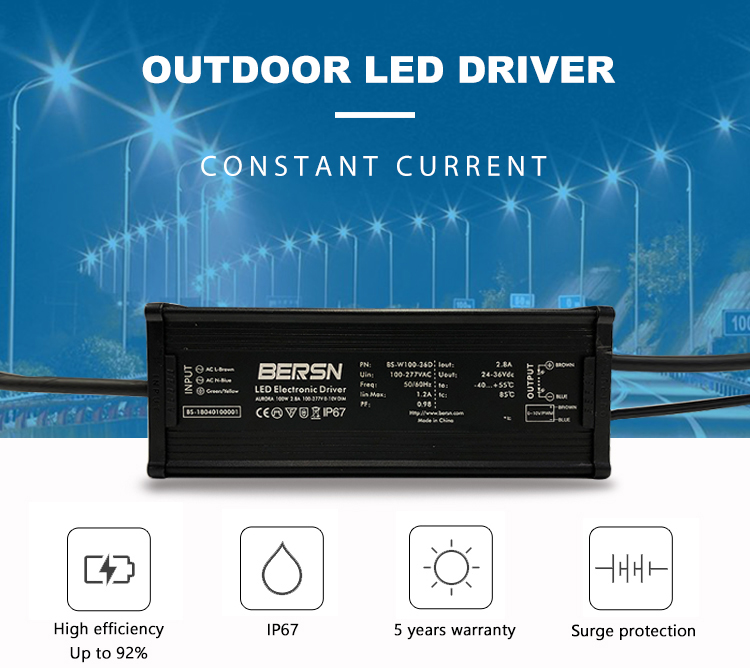 Full protection 36v 60watt 70w led driver with 5 years warranty
