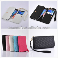 Wristlet Grid PU Leather Wallet Case Cover for Samsung Galaxy S4 i9500 S3 i9300 Carry Bag