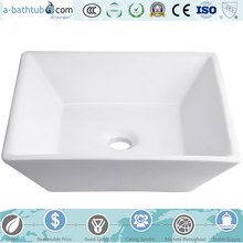 Porcelain Square Vessel Sink, White Ceramic Basin AS2417-1