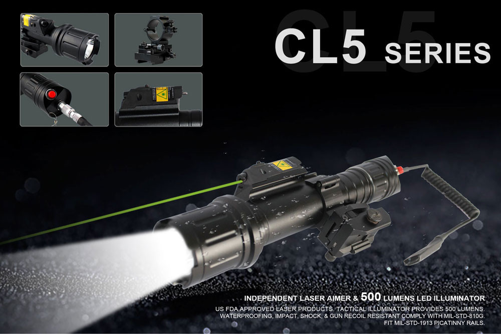 Long distance rifle red laser sight and 500lumen tactical flashlight