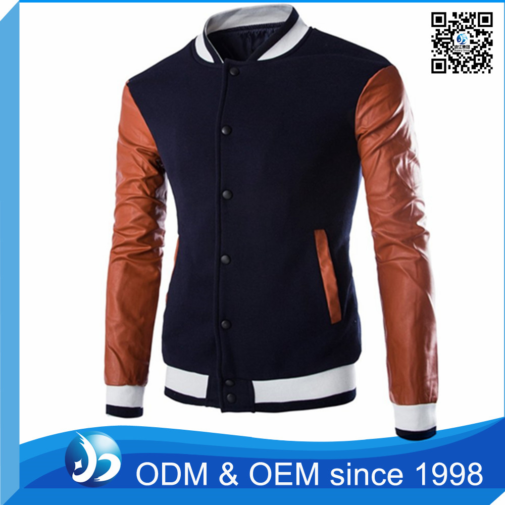 Fashion Slim Fit High Quality Varsity Jacket With Leather Sleeves