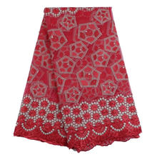 red color fashion wedding cottob lace dress fabric swiss voile in switzerland stone decoration