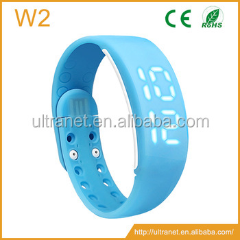 smart bracelet W2 Silicone w/ 3D pedometer calorie counter fitness band smart USB led watches men