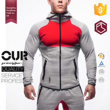 Guangzhou factory zip up high neck red chest pocket custom mens gym hoodie