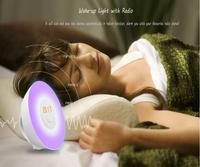 Baby light baby wake up light alarm clock sunrise light with fm radio and music