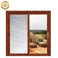 Aluminium clad wood colored sliding window with blind design