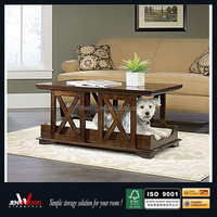 2016 adorable design Multi function brown finish wooden end table with pet bed