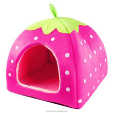 Lovely Strawberry Soft Cashmere Warm Pet Nest Dog Cat Bed Foldable Pink