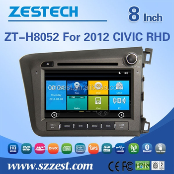 8'' car multimedia car radio gps for honda civic 2012 rhd with dvd,gps,vedio,tv,phonebook,swc