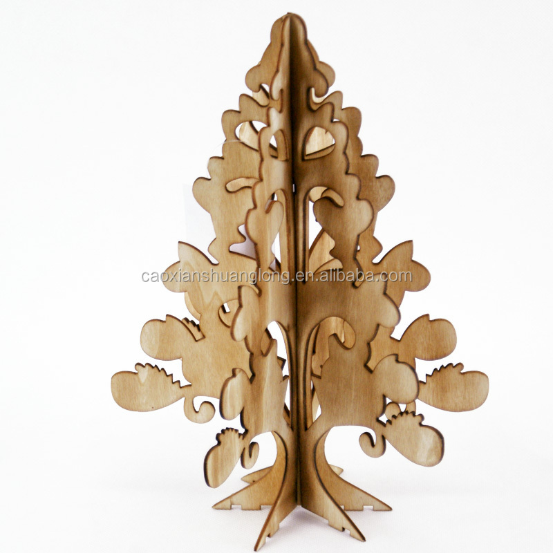 Laser Cutting wooden christmas street tree decorations