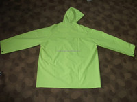 100% Polyester green reflective raincoat