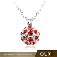 OUXI Ball Pendants Jewelry Necklace With Austrian Crystals