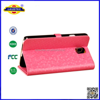 For Samsung Galaxy Note 3 Luxury Diamond Pattern Leather Case Stand Cover for Samsung Note 3 Laudtec