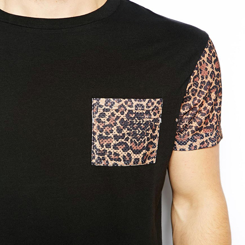 Custom design wholesale clothes leopard black man tshirt for T shirt design wholesale