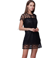 2016 beautiful ladies round neck short sleeve lace dress flower decorate lace dress