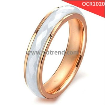 Popular ceramic and stainless steel combined rings with PVD Rose Golden and white color