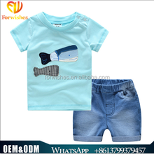 Toddler clothing summer casual fish embroder shirt+jeans pants 2pcs kids clothes sets boys outfits