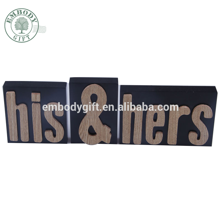Home Decoration Raise MDF His & Hers Standing Letter Wooden Letters Wedding