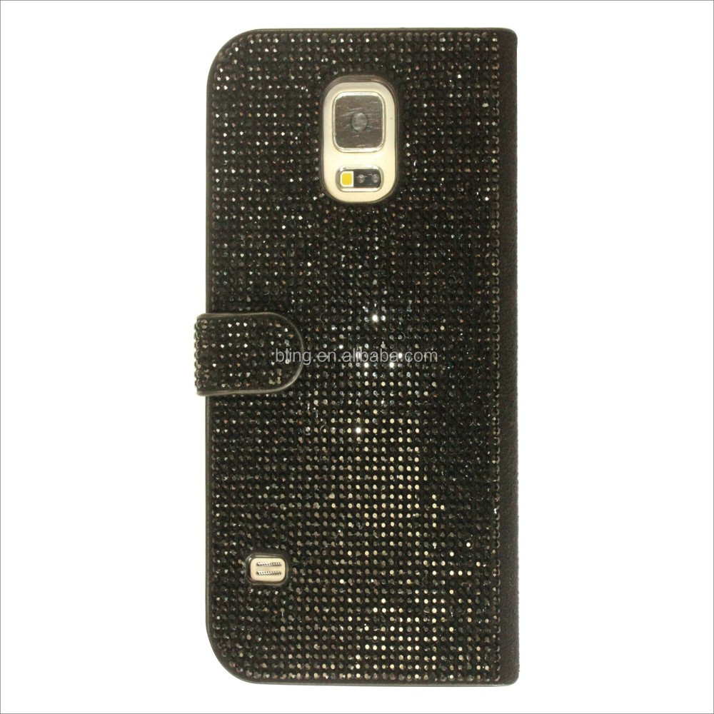 Flip magnetic genuine leather wallet cellphone diamond case for samsung galaxy s5