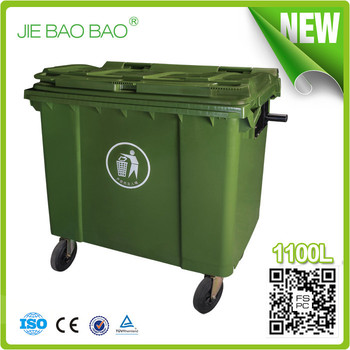 Big Size Plastic Recycling Containers 4 Wheel Movable Storage Box Outdoor  Trash Can 1100 Liter Container