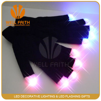 Black led gloves with white finger for party