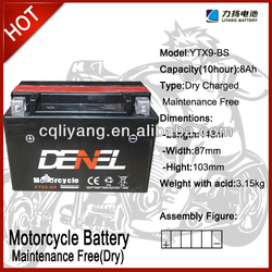 dayun motorcycle/scooter 12V 9AH (YTX9-BS)