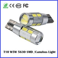 Free Error 700LM Car led t10 canbus T10 W5W bulb 10 SMD 5630 5w5 bulbs led light 12V 24V YELLOW RED White