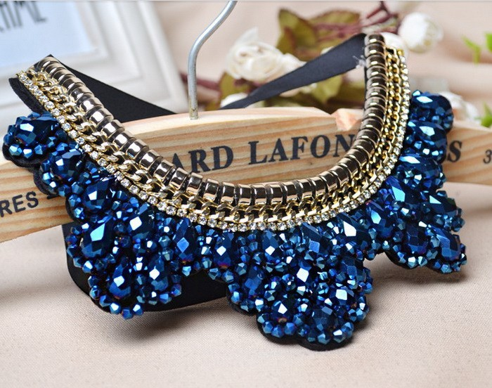2017 Fashion Jewelry Handmade Beaded Blue Crystal Leaves Ribbon Bib False Collar Gold Chain Statement Chunky <strong>Necklace</strong> For Women