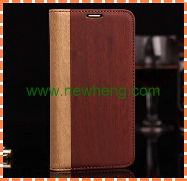 New product stand flip wood grain leather case for Samsung galaxy S5