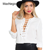 Maxnegio Ladies White Blouse Designs Long Sleeve Cross Tops V-Neck Shirt Manufacturer