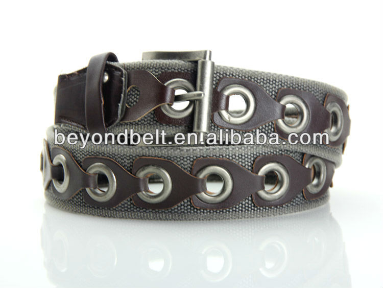 Men's Casual Jean 4cm Wide Wasehed Cotton Big Hole Grommet Belt