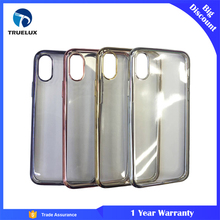 Free sample New Arrivals Electroplating Edge Cell Phone Back Cover Case for Iphone X Soft Silicone Protective Case Wholesale