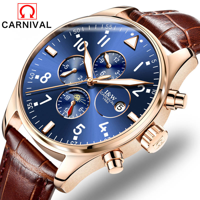 8764 Carnival Brand Multifunction 6 Hands Men Luxury Mineral Fashion Mechanical Casual Luminous Wrist Watch