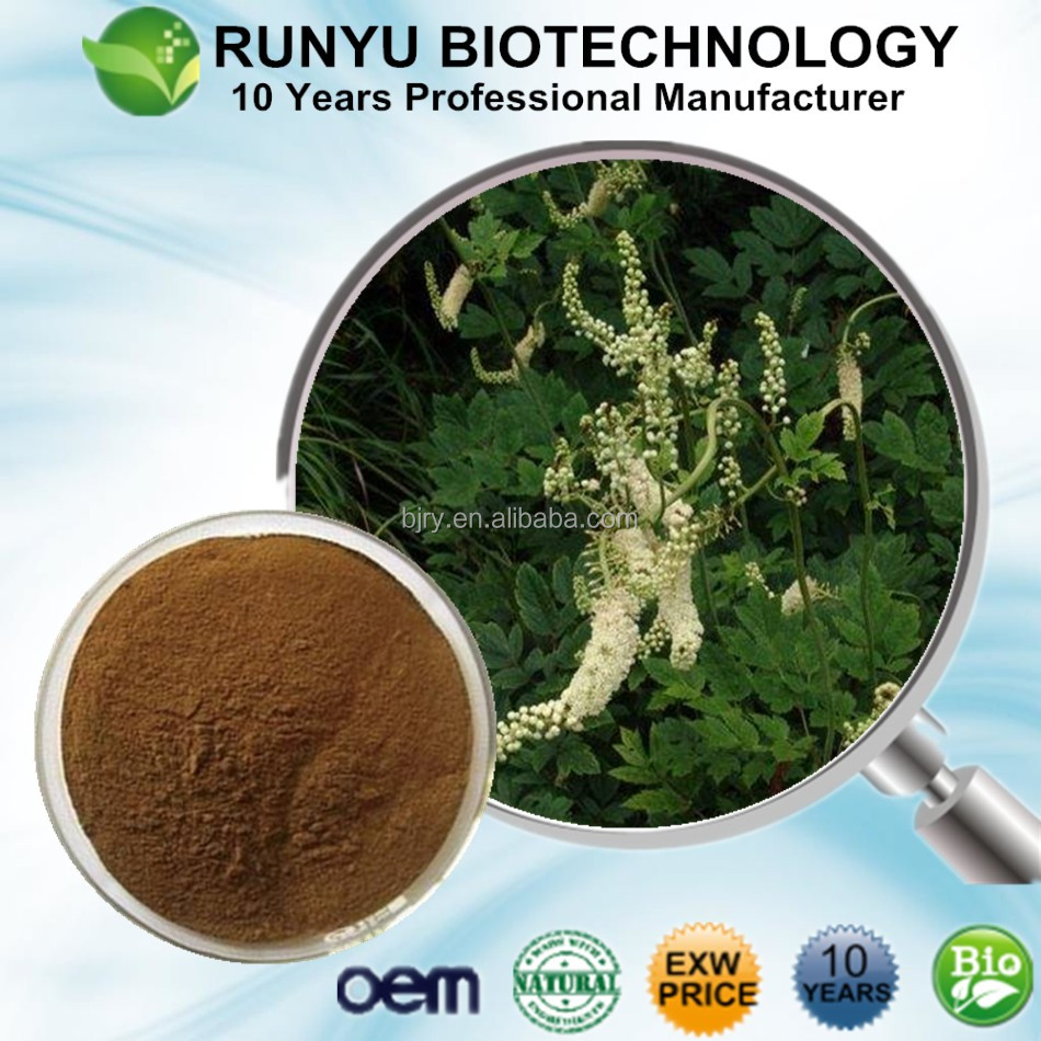 10 Years manufacturer supply Black Cohosh Extract, Black cimicifuga extract with Triterpene Glycosides
