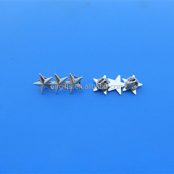 3D silver polished butterfly clutches lapel pin, 3 stars badges
