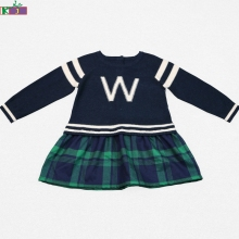 New Fashion cheap kids clothes Letter Pattern Design Knitting Girl Sweater Dresses