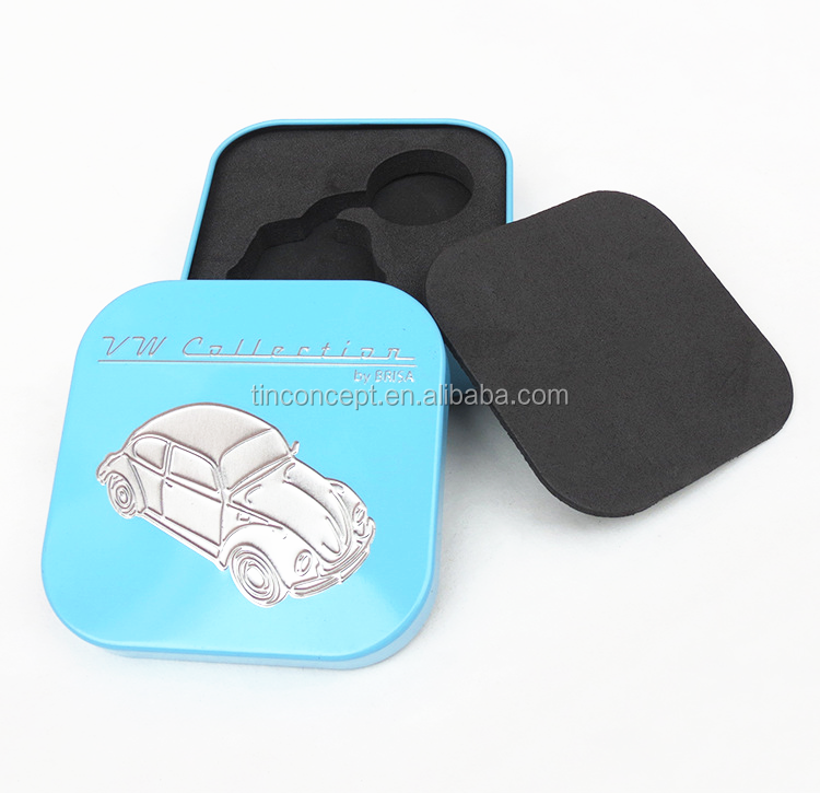 Square Volkswagen Promotional Collection Gift Tin Box With Eva