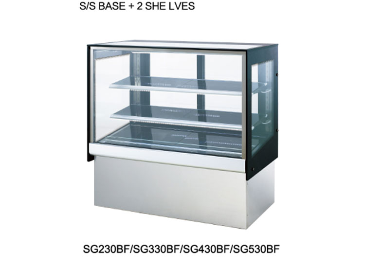 SS base flat glass refrigerated cake display showcase cabinet