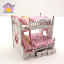 Children furniture bunk bed pink dolls house furniture mini toy doll house furniture 1/18 scale cheap
