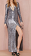 EY1284D Front Slit Women Long Sleeve Custom Plunge Embellished Sequin Maxi Dress
