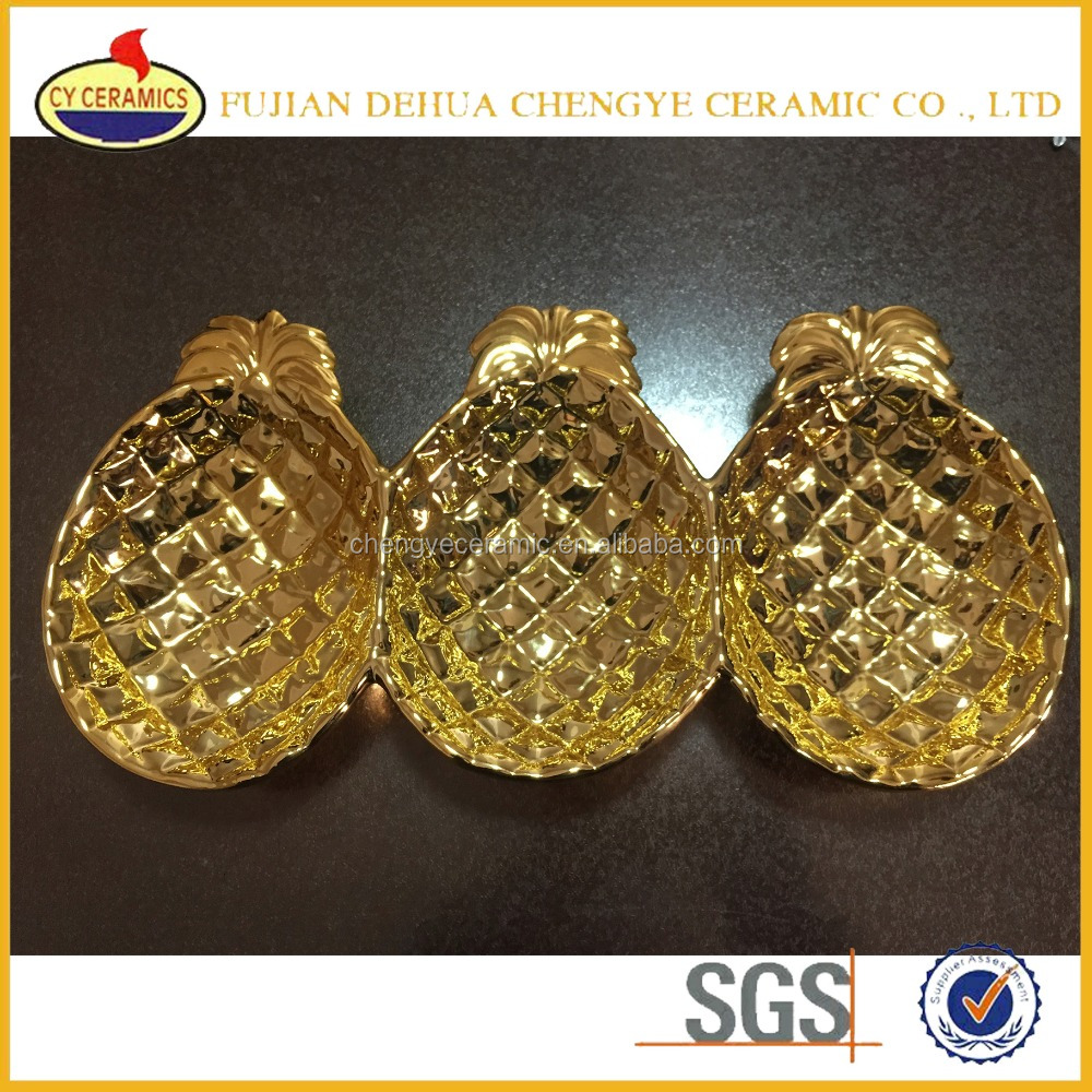 Gold ceramic fruit pineapple plates divided plates dishes