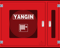 "Fire Reel Hose Cabinet with separate closet for Fire Extinguisher tube - 1""VALVE, Red Color, Glass Cover"