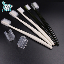 compact biodegradable small head toothbrush with matching head cover
