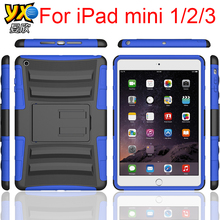 Heavy Duty Case For iPad mini 1/2/3, for iPad min 1/2/3 Rugged Bumper Case with Kicktand