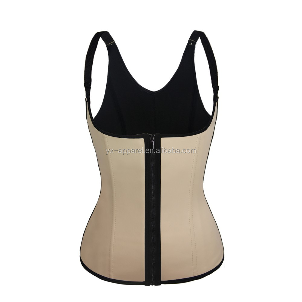 women 100% latex underbust Corset slimming Vest Shaper bodysuit workout waist trainer With zipper