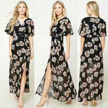 Hot sale black floral maxi bohemian clothing chiffon see through dress