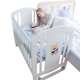 Factory price wooden safety baby crib attached adult bed