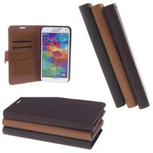 Big Sales Wooden Leather Wallet Flip Stand Case Cover for SAMSUNG Galaxy S5 i9600 Coffee Professional and lightweight Business