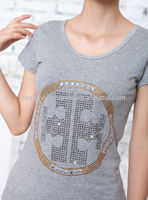 Wholesale Grey Rhinestone Pattern Short Sleeve T shirt Manufacturer High Quality Made In China