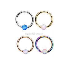 Surgical steel 316L Opal Disc Captive Ring Nose Nipple Septum Piercing Body Jewelry